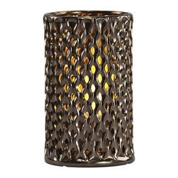 Brasa Fire - Round Argyle Shadow Lantern Warm Bronze - Brasa Fire's Round Shadow Lanterns are versatile alcohol-burning smokeless vent free bio ethanol fireplaces made from high temperature ceramic surrounds and stainless steel burner inserts. Warm Bronze color and diamond Argyle pattern. Can be used in a range of settings in both indoor and outdoor environments. Unlike a traditional fireplace or stationary fire pit their uncomplicated setup means you can move them at a moment's notice - line them in a row on on the floor to light an aisle or walkway at a wedding or party, set them inside an old fireplace hearth (no flue needed since bio ethanol is clean burning and only emits heat, water vapor and tiny amounts of carbon dioxide into the air), use them as a tabletop centerpiece in your dining room or outside on your patio or terrace, place them poolside for a moonlight swim.
