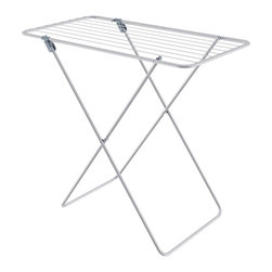 Hills - Hills Clothes Airer - Simplicity Drying Rack - FE110028 - Shop for Drying Racks from Hayneedle.com! Although it takes a while for clothes to air dry with the Hills Clothes Airer - Simplicity Drying Rack air drying your clothes doesn't have to be inconvenient. This compact and sturdy drying rack has the equivalent of 26.5 feet worth of drying line space - a perfect size for most medium wash loads. And more sensitive fabrics that shouldn't be line dried can be laid flat right across the top. This rack's sturdy light frame can also be easily lifted and moved around even when it's full of clothes so it won't get in your way. And when not in use it's even less obtrusive because it neatly folds flat for easy storage. Not only does line drying your clothing give the fabric a fresh airy smell and feel but it also causes less stress on the fabric itself keeping your clothes nicer longer. And unlike drying machines line drying doesn't take any extra electrical energy creating a smaller ecological footprint and saving on costly bills at the same time.About Hills IndustriesHills Industries has been a consistent provider of quality home products since 1946 when brothers-in-law Lance Hill and Harold Ling first developed a less expensive rotary clothesline. The two men started an Australian manufacturing enterprise that destined to grow from a humble backyard operation into a multi-national company distributing a diverse range of products throughout the world.Research and development are essential components of Hills long term success. The company understands that innovation and up-to-date technology are integral in the creation of affordable reliable products for your home. Each piece is subjected to intensive testing before release to ensure that its quality is safeguarded. Operating their own research laboratories Hills is dedicated to enhancing their process and product so that consumers get the most value for their dollar.Please note this product does not ship to Pennsylvania.