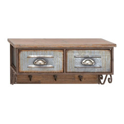 Woodland Import - Wood and Metal Wall Shelf with Hooks - 26W x 12H in. Multicolor - 20229 - Shop for Wall Hooks Shelves and Racks from Hayneedle.com! The Wood and Metal Wall Shelf with Hooks - 26W x 12H in. wouldn t be out of place in a Norman Rockwell painting. Brimming with vintage charm it features a high-grade wood frame with a natural finish. Display small knickknacks on the upper shelf and store essentials in the two metal drawers which feature a heavily distressed design. Below three hooks are handy too and the scroll supports add to the appeal.