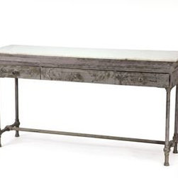 Artisanal Table - I love the mix of a white marble top and antiqued hand-finished steel base.
