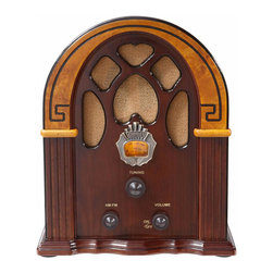 """Crosley Radio - Crosley Radio Companion Tabletop Radio in Walnut - Crosley Radio - Radios - CR31WA. """"Happy Days are Here Again"""" went the most popular tune of 1930 but for most Depression-era Americans the sentiment amounted to wishful thinking. In 1932 Hoover was defeated by FDR by a landslide. After this runaway victory it became apparent that FDR embodied an optimism and speaking voice that seemed tailor-made for radio. He delivered regular radio addresses to the nation known as """"Fireside Chats."""" But FDR's chats weren't' the only thing Americans were listening to. Americans were relying upon radio as their evening entertainment. The tunes and talk were enjoyed on radio sets just like Crosley's Companion. Careful attention to detail makes this mini yet magnificent Cathedral-style radio as authentic as the 1930's original."""