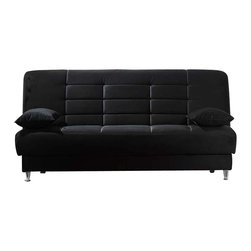 Istikbal - Vegas Rainbow Black Convertible Sofa Sleeper - Hot colors, tufted back modern style, hidden storage and a sleeper - the Vegas Rainbow Black Convertible Sofa Bed - has it all! Vegas sofa bed will easily create a full style of living room group for your home. This sofa features the under-seat storage space and can be converted from a sitting position to a bed.