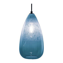 Siemon & Salazar - Cone Bubble Pendant - Cone Bubble pendant features a glass shade available in Alabaster, Grey, Steel Blue, Clear, Aubergine, Gold Topaz, or Sargasso. Finish available in Polished Nickel, Dark Bronze, or Satin Nickel with Clear, Black or White cord. Includes six foot cord assembly and canopy. One 40 watt 120 volt G25 medium base globe lamp included. Each piece is handmade and dimensions and color may vary slightly. Fixture is signed by designer. 6 inches wide x 12 inches high.