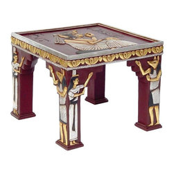 EttansPalace - Ancient Egyptian Sculptural Ornamental Collectible Side Table - Named for the esteemed builder of giant pyramids - and arguably even the legendary Great Sphinx - this versatile, bas-relief work of furniture art adds a dramatic and exotic accent to any Egyptian decor. Anubis, temple priests, and hieroglyphs all embellish this quality designer resin occasional table hand-painted in faux gold and silver, making this a true statement piece recalling ancient dynasties!