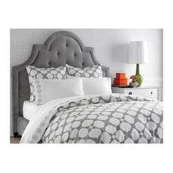 Jonathan Adler Hollywood Duvet Cover, Light Gray - Jonathan Adler's Hollywood duvet and shams would add bold pattern to a glam bedroom. I really like how it pops against the solid headboard.