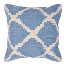 Jaipur - Cadiz Pillow, Sky Blue & Ivory Set of 2 - Hand woven from 100% cotton the Cadiz pillow collection offers a range of open geometrics in bold color combinations. The collection coordinates with Jaipur Maroc and Urban bungalow flat weave rugs.