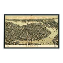 "Christopher David - Boston Artifact Map, Single Panel Mural - Material: Wood or metal, glass Finish: Matte black wood or industrial grey metal Dimensions: 36.5""W X 22""H"