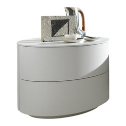 Rossetto - Rossetto Moon 2 Drawer Night Stand in White - Rossetto - Nightstands - T2862050100RB - Curved lines and rounded corners define the moon dresser while radiating comfort and relaxation. A beautiful piece that will fit perfectly beside the Alix tall bed (sold separately).