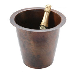 Premier Copper Products - 12 in. Round Hammered Copper Champagne Bucket - Configuration: Round. Design: Hammered Copper Surface. Color: Oil Rubbed Bronze. Inner Dimension 10 in. x 10 in. x 11 in.. Outer Dimension: 12 in. x 12 in. x 5 in.. Installation Type: Under Counter or Surface-Mount. Rim: 1 in. Flat Rim. Countertop Depth Minimum: 17 in. Front to Back. Material Gauge: (17 Gauge or .045 in.). Drain Size: 2 in.. Suggested Drain Model: D-133ORB. Drain not included. Faucet Mounting: Counter Deck Mount. Hand Made. 100% Recyclable. Composition: 99.7% Pure Recycled Copper. Lead Free (< .01%). Patina: Fired. Warranty: Limited Lifetime. Includes Mounting & Care InstructionsUncompromising quality, beauty, and functionality make up this Unique Premier 12 in. Round Hammered Copper Sink to chill your Champagne, Wine, or simply use it as an ice bucket. Sink comes with a 2 in. Drain Opening. Green Recyclable Products like Copper Sinks are a must have in today's modern home. This product is sure to impress your guests and satisfaction is always guaranteed.