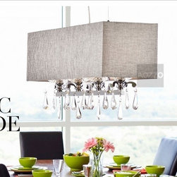 JollyHome - JollyHome Crystal Pendant Lighting Fabric Shade Rectangle - 220V.Requiring four E14 bulbs (sold separately).Fabric shade with crystal drop.Suitable for decorating your kitchen