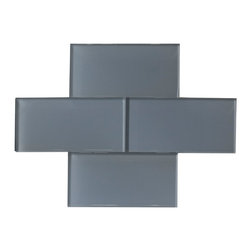 """Pewter Color Glossy Glass Subway Tile 3""""x6"""" - Pewter Color. Glossy Glass Tile 3""""x6"""". Price is per square foot."""