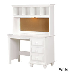 Lang Furniture - Madison Desk with hutch - From Lang Furniture comes this desk made of sturdy wood and finished with silvertone hardware pulls. This multi-drawer and multi-cubbie desk arrives complete with convenient pencil drawer and plenty of comfort and storage.