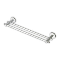 StilHaus - 18 Inch Brass Double Rail Towel Bar, Brushed Nickel - Modern and contemporary style wall mounted double rail towel bar. Luxury 18 inch double towel holder made out of high quality solid brass in a polished chrome or brushed nickel finish. Made in Italy by StilHaus.