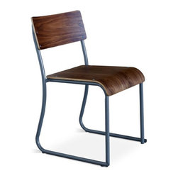 Gus Modern Church Chair Set of 2 - Church Chair by Gus Modern. Inspired by the functional chairs used in gathering rooms at churches, schools and public buildings. Made of bent steel tube and shaped ply, these chairs are stackable and come in Walnut or Natural Oak seat with either white or gray powder coated frame.
