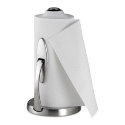 Oxo - OXO Good Grips One-Handed Simply Tear Paper Towel Holder - No more wildly spinning paper towels that unravel completely when you only want a single sheet. The brushed stainless steel Simply Tear Paper Tower Holder from OXO uses a spring-activated arm to let you select how many paper towels you need.