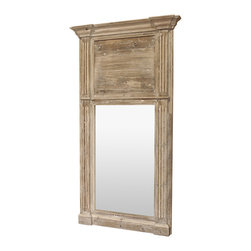 Kathy Kuo Home - Remy French Country Cottage Door Trumeau Large Hall Mirror - A weathered French Cottage door that has been re-purposed to frame a large mirror becomes the versatile focal point of any room. Strong, solid architectural lines with detailed moldings around the perimeter support an oversized rectangular mirror.
