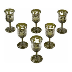 Handcut After Dinner Stems - Set of 6 midcentury handcut After Dinner Stems in green with a grape motif. The motif covers the entire stem.