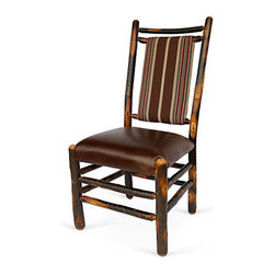 "Genesee River - Hickory Dining Chair - Tenoned hickory chair with brown, tan red serape stripe fabric on back of chair, seat is brown leather. Bench made in Pennsylvania. Seat height 19"" from floor."
