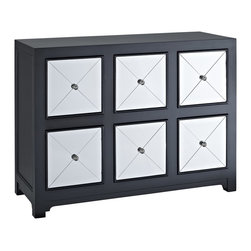 Powell - Powell Mirrored 6-Drawer Black Wood Console X-066-332 - The Mirrored Six-Drawer Black Wood Console is perfect for add glitz and drama to your modern decor. The console features six deep drawers each accented by a glamorous mirrored front. A wide top is perfect for displaying flowers, photos and a lamp. A unique addition to an entry, hall or living space.