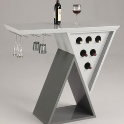 Home Bar Table - Modern Double Triangle Home Bar top with wine glass rack and wine bottle storage