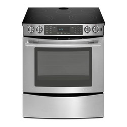 """Jenn-Air 30"""" Slide-in Electric Range, Stainless Steel   JES8850CAS - 4.5 CU FT OVEN CAPACITY"""