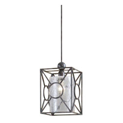 Uttermost Arbela 1 Light Mini Pendant - Rust black finish with aged gray undertones and a crackled glass cylinder inner shade. Rust black finish with aged gray undertones and a crackled glass cylinder inner shade.