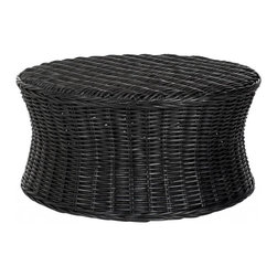Safavieh - Ruxton Cocktail Ottoman - Bring the outdoors in with the woven rattan Ruxton cocktail ottoman, a transitional design that adapts to any decorating style from traditional to contemporary. With its low profile concave form and black finish, Ruxton can be styled as a coffee table or cleared for use as extra seating or a footrest.