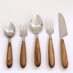 Teak Cutlery Set - Teak-handled flatware would be an added bit of warmth to a cool winter tablescape.