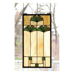 "Meyda Tiffany - Meyda Tiffany 67787 Stained Glass Tiffany Window Ginko Collection - 11"" W X 20"" H Ginkgo WindowArts And Crafts Inspired Cottage Green Ginkgo Leaves Adorn A Cornerstone Beige Glass Panel. This Handsome Neutral Colored Window Is A Perfect Complement to an DecorIncludes Mounting Brackets and Chains"