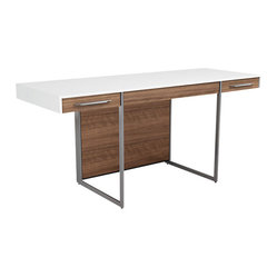 BDI - Format Desk - The Format Desk by BDI is simple yet commanding. Two side drawers are placed on the exterior of the desk for easy access to necessities. Below the desk top is plenty of room to store file cabinets and other office accessories. Two color options available.
