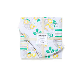 Working Class Studio - Savannah Paisley Collection - Pineapple - Gift Set - Juice up your kitchen style with a perky pineapple print that reinvents paisley with a fresh, tropical twist. This complete kitchen set includes an apron, oven mitt, pot holder and two tea towels — one printed and one in a coordinating accent stripe.