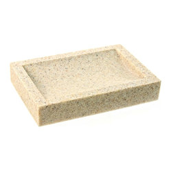 Gedy - Free Standing Sandstone Soap Dish - Rectangular soap dish is made of stone is three available finishes - white (as shown), natural sand, and black. Made and designed by luxury Italian brand Gedy.