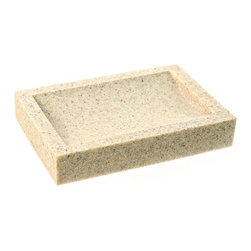 Gedy - Free Standing Sandstone Soap Dish, Natural Sand - Rectangular soap dish is made of stone is three available finishes - white (as shown), natural sand, and black. Made and designed by luxury Italian brand Gedy.