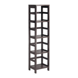 "Winsome Wood - Winsome Wood Leo Leo Shelf with 4-Tier X-41529 - With its classic, sturdy design, this elegant shelving unit fulfills both style and functional requirements. Its four sections hold the Espresso Small Storage Basket perfectly. Mix and match with the other Espresso Storage Shelves.  Dimension of assembled shelf is 13.39""W x 11.22""D x 54.80""H.  Each shelf has 12"" clearance with shelf surface of 11.81""W x 11.14""D.  Construct with combination of solid and composite wood in espresso finish.  Assembly required."