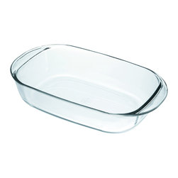 Duralex OvenChef 4 Quart Glass Rectangular Roaster - The Duralex OvenChef 4 quart glass rectangular roaster is made from tempered glass to give you great results every time.  The baking dish is mechanical and thermal shock resistant  and is dishwasher  oven  microwave  and freezer safe.  Like all Duralex glass  it is constructed out of hygienic  non-porous glass.  Made in France.  Product Features      Oven safe to 572° F   Mechanical Shock resistant tempered glass   Thermal shock resistant differential of 392° F   Dishwasher  oven  microwave  and freezer safe   Made in France