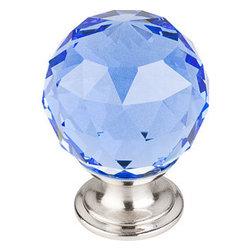 "Top Knobs - Blue Crystal Knob 1 3/8"" w/ Brushed Satin Nickel Base - Width - 1 3/8"", Projection - 1 6/8"", Base Diameter - 15/16"""