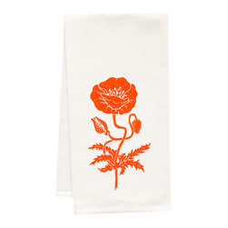 "artgoodies - Organic Poppy Towel - This high quality 100% certified organic cotton tea towel was custom made just for artgoodies! Hand printed with one of my original linocut block print images it measures 20""x28"" and comes wrapped in a green ribbon made from 100% recycled plastic bottles! Nice and absorbent for drying dishes, looks great when company is over, and makes a great housewarming gift!"