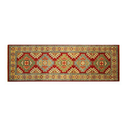 Manhattan Rugs - New Red Veg Dyed Super Kazak Hand Knotted Wool 2' X 6' Geometric Area Rug H5876 - Kazak (Kazakh, Kasak, Gazakh, Qazax). The most used spelling today is Qazax but rug people use Kazak so I generally do as well.The areas known as Kazakstan, Chechenya and Shirvan respectively are situated north of  Iran and Afghanistan and to the east of the Caspian sea and are all new Soviet republics.   These rugs are woven by settled Armenians as well as nomadic Kurds, Georgians, Azerbaijanis and Lurs.  Many of the people of Turkoman origin fled to Pakistan when the Russians invaded Afghanistan and most of the rugs are woven close to Peshawar on the Afghan-Pakistan border.There are many design influences and consequently a large variety of motifs of various medallions, diamonds, latch-hooked zig-zags and other geometric shapes.  However, it is the wonderful colours used with rich reds, blues, yellows and greens which make them stand out from other rugs.  The ability of the Caucasian weaver to use dramatic colours and patterns is unequalled in the rug weaving world.  Very hard-wearing rugs as well as being very collectable