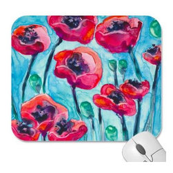 """Brazen Design Studio - Mousepad - Poppy Sky Floral Painting - Art for Home - Spice up your desk or work areas with this beautiful and colorful piece of art on a mouse pad! These mouse pads are top-quality and measure approximately 9.25"""" by 7.75"""" and 1/4"""" thick with a rubber base. They are heavy duty and meant to last."""