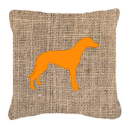 Caroline's Treasures - Greyhound Burlap and Orange Fabric Decorative Pillow Bb1086 - Indoor or Outdoor Pillow from heavyweight Canvas. Has the feel of Sunbrella Fabric. 18 inch x 18 inch 100% Polyester Fabric pillow Sham with pillow form. This pillow is made from our new canvas type fabric can be used Indoor or outdoor. Fade resistant, stain resistant and Machine washable..