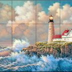 The Tile Mural Store (USA) - Tile Mural - Harbor Light  - Kitchen Backsplash Ideas - This beautiful artwork by Judy Gibson has been digitally reproduced for tiles and depicts a lighhouse scene.  Our lighthouse tile murals and nautical themed decorative tiles are perfect as part of your kitchen backsplash tile project or your tub and shower surround bathroom tile project. Lighthouse images on tiles add a unique element to your tiling project and are a great kitchen backsplash idea. Use a lighthouse scene tile mural for a wall tile project in any room in your home where you want to add interest to a plain field of wall tile.