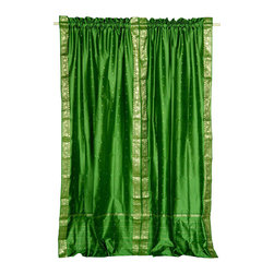 Indian Selections - Pair of Forest Green Rod Pocket Sheer Sari Curtains, 43 X 63 In. - Size of each curtain: 43 Inches wide X 63 Inches drop.
