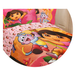 Franco Manufacturing Company Inc - Dora Explorer Jungle Sunset Microfiber Twin Bed Comforter - Features: