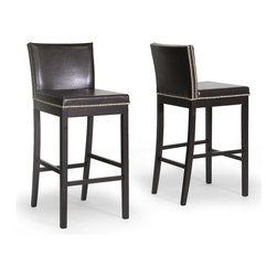 Baxton Studio - Baxton Studio Graymoor Brown Modern Bar Stool (Set of 2) - This set of two brown modern bar stools will add class to any bar or kitchen area. Each chair's classic shape and sturdy manufacturing makes it a joy to own. The silver trim along the seat and back adds eye-catching contrast to this set.