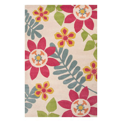 Jaipur Rugs - Hand-Tufted Floral Pattern Wool Pink/Multi Area Rug ( 8x10 ) - Whimsical flowers, patterns and colors define this wool tufted range.
