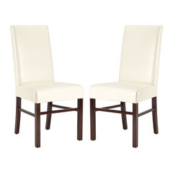 Safavieh Furniture - Classic Soft Leather Side Chair - Set of 2 - Set of 2. Espresso-stained legs. Cream color. No assembly required. 23 in. W x 19 in. D x 39 in. H (35 lbs.)Classic, comfortable style and luxuriously soft leather highlight this set of 2 safavieh classic soft leather side chairs.