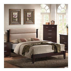 Wildon Home � - Morgan Platform Bed - Features: -Morgan Queen Bed.-Contemporary style.-Composed of wood solids and veneers.-Microfiber headboard.-Tapered legs.-Rich, dark mahogany finish.-Distressed: No.-Collection: Morgan.Dimensions: -Dimensions: 47.25'' H x 66'' W x 85'' D.-Overall Product Weight: 78.14 lbs.