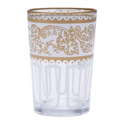 White Moroccan Tea Glasses - Set of 6 - In Morocco, tea is served not in mugs but in distinctive glasses. These Moroccan tea glasses are the perfect link to an old tradition with modern style. They can serve double duty as votive candles or wine glasses. You can also use these glasses for the perfect Moroccan treat: gunpowder tea with mint.