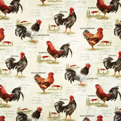Rooster fabric retro European country chickens document print, Sample - A rooster fabric with a slightly retro look. A country toile fabric with different European chicken breeds and document writing.
