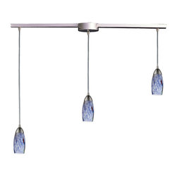 Elk Lighting - Elk Lighting 110-3L-BL 3 Light Pendant in Satin Nickel & Starlight Blue Glass - 3 Light Pendant in Satin Nickel & Starlight Blue Glass belongs to Milan Collection by Individuality Is What Defines This Exquisite Line Of Hand Blown Glass. Each Piece Is Meticulously Hand Blown With Up To Three Layers Of Uncompromising Beauty And Style. Pendant (1)